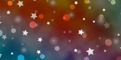 hellblaues, gelbes Vektorlayout mit Kreisen, Sternen.
