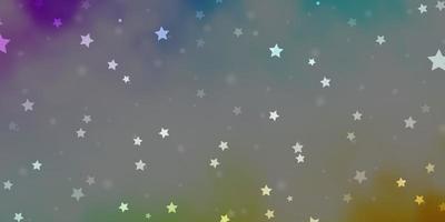 heller mehrfarbiger Vektorhintergrund mit kleinen und großen Sternen.
