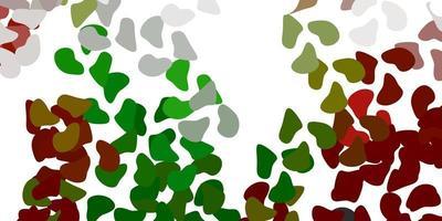 hellgrüner, roter Vektorhintergrund mit chaotischen Formen.