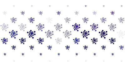 hellvioletter Vektorhintergrund mit covid-19 Symbolen