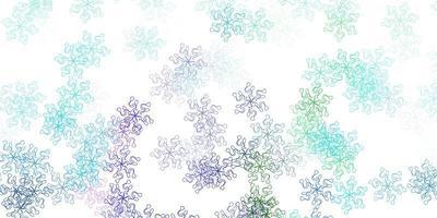 hellblaue, grüne Vektor-Gekritzel-Textur mit Blumen.