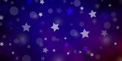 dunkelblauer, roter Vektorhintergrund mit Kreisen, Sternen. vektor
