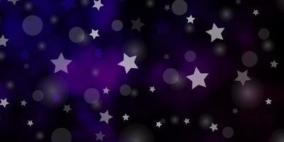 dunkelvioletter Vektorhintergrund mit Kreisen, Sternen. vektor