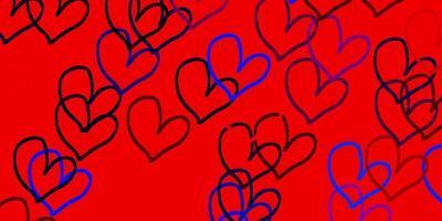 hellblaues, rotes Vektormuster mit bunten Herzen.