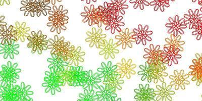 ljusgrön, röd vektor naturligt konstverk med blommor.