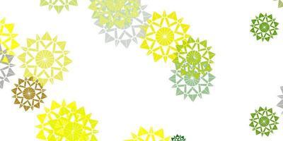 hellgrünes, gelbes Vektorlayout mit schönen Schneeflocken.