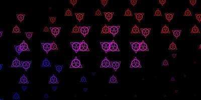 dunkelrosa, rote Vektorschablone mit esoterischen Zeichen. vektor