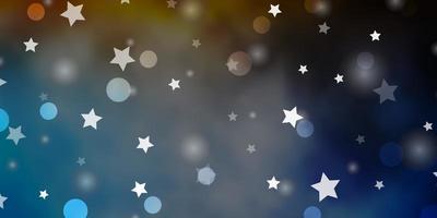 ljusblå, gul vektorlayout med cirklar, stjärnor. vektor