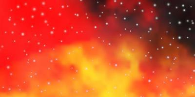 dunkelorange Vektormuster mit abstrakten Sternen.
