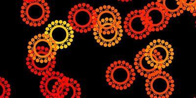mörk orange vektor bakgrund med covid-19 symboler.