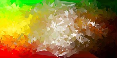 dunkelgrüne, gelbe Vektor-Poly-Dreiecksschablone.