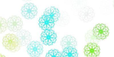 natürlicher Hintergrund des hellblauen, grünen Vektors mit Blumen.