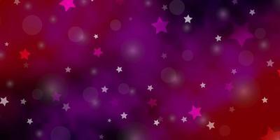 dunkelrosa, gelber Vektorhintergrund mit Kreisen, Sternen.