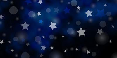 dunkelblauer Vektorhintergrund mit Kreisen, Sternen.