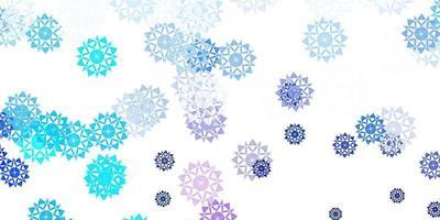 hellrosa, blaue Vektorschablone mit Eisschneeflocken.
