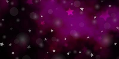 dunkelrosa Vektorhintergrund mit Kreisen, Sternen.