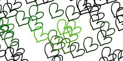 ljusgrön vektorbakgrund med hjärtan.