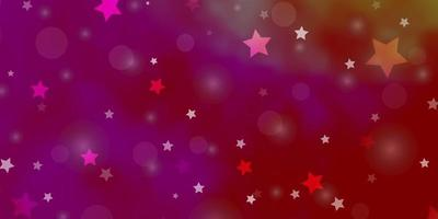 ljusrosa, gul vektorlayout med cirklar, stjärnor. vektor