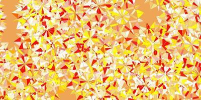 ljusröd, gul vektor vackra snöflingor bakgrund med blommor.