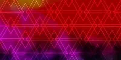 ljusrosa, gul vektorbakgrund med linjer, trianglar. vektor