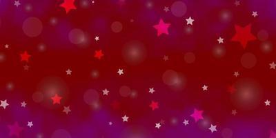 ljuslila, rosa vektorbakgrund med cirklar, stjärnor. vektor