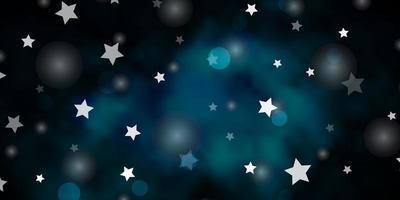 mörkblå vektormall med cirklar, stjärnor.