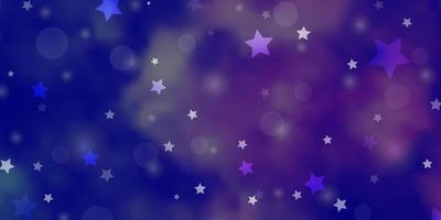 hellrosa, blaues Vektorlayout mit Kreisen, Sternen.
