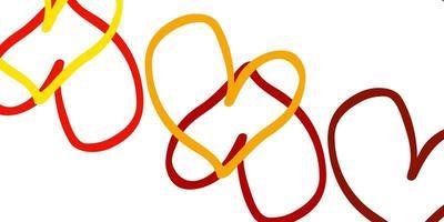 ljusgul vektormall med doodle hjärtan.