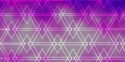 hellviolette, rosa Vektorschablone mit Kristallen, Dreiecken. vektor