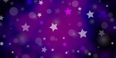 mörk lila vektor bakgrund med cirklar, stjärnor.