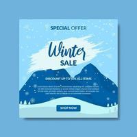 vintern försäljning landskap sociala medier postmall vektor