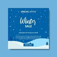 vintern försäljning sociala medier postmall vektor