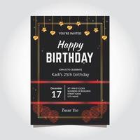elegantes Geburtstagseinladungsschablonen modernes Design vektor