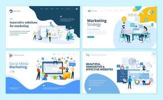 uppsättning webbmallar för webbmarknadsföring, sociala medier, webbdesign och utveckling vektor