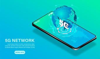 5g internetnätverksteknologibanner med smartphone vektor