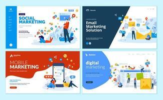 uppsättning webbmallar för digital marknadsföring, mobila lösningar, nätverk och e-postmarknadsföring vektor
