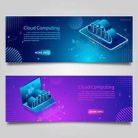Datentechnologie-Banner-Set für Unternehmen mit isometrischem Design