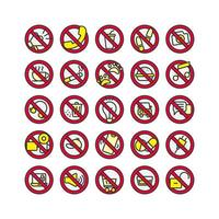Verbot Zeichen gefüllt Gliederung Icon Set. Vektor und Illustration.
