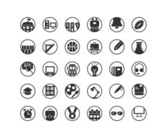 Bildung solide Icon Set. Vektor und Illustration.