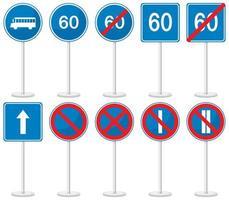 Satz blaue Verkehrszeichen mit Stand lokalisiert auf weißem Hintergrund vektor