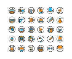 Bildung gefüllt Gliederung Icon Set. Vektor und Illustration.