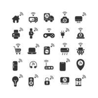 sakernas internet fast ikonuppsättning. vektor och illustration.