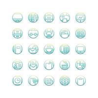 arbetskontor lutning ikonuppsättning. vektor och illustration.