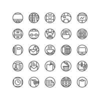 arbete kontors disposition ikonuppsättning. vektor och illustration.