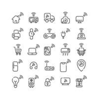Internet der Dinge Umriss Icon Set. Vektor und Illustration.
