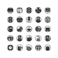 arbetskontor solid ikonuppsättning. vektor och illustration.