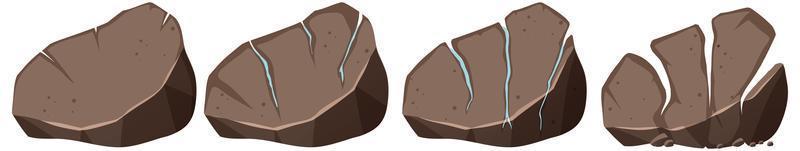 uppsättning av olika sten isolerad på vit bakgrund vektor
