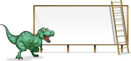 en dinosaurie banner mall på vit bakgrund vektor