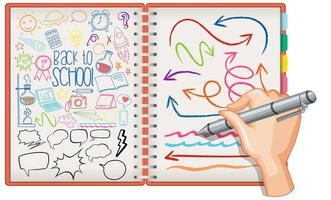 hand ritning skola element klotter på papper vektor