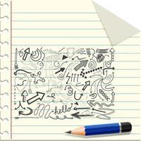 olika klotterstreck på ett papper med en penna